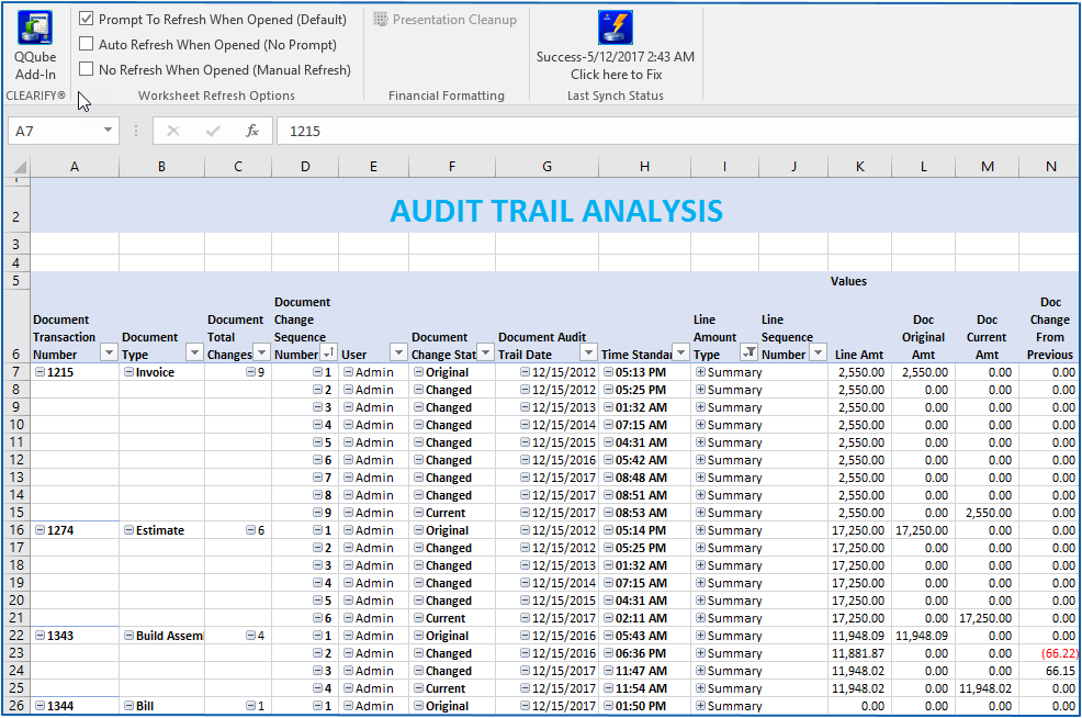 Audit Trail Analysis