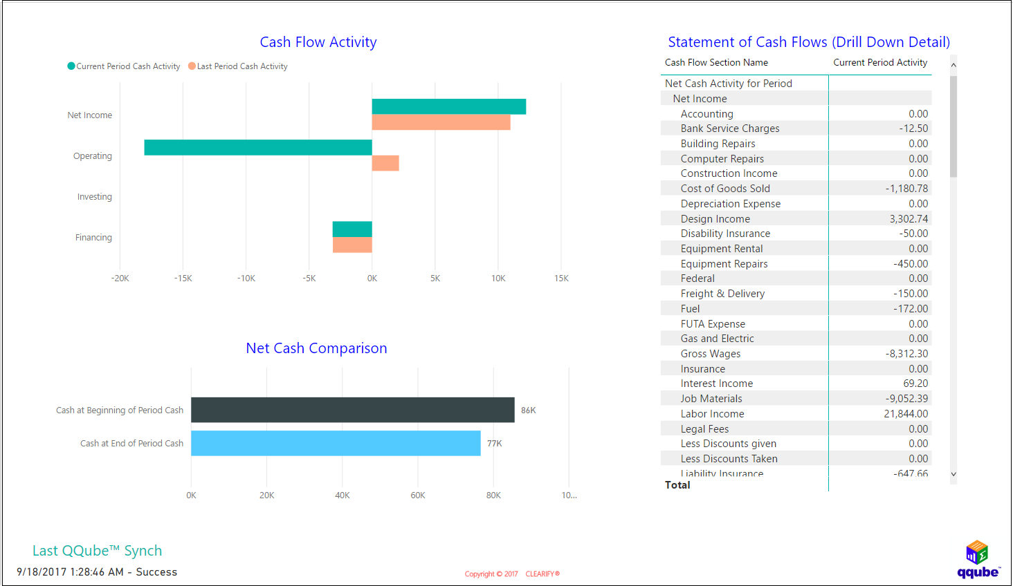 Statement of Cash Flow Activity Visual
